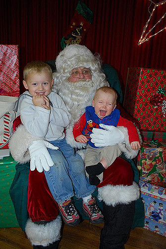Children sitting on Santa's lap